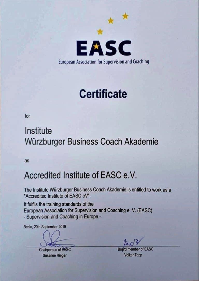 EASC Zertifikat